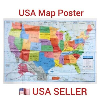 "New USA Maps Poster Size 40""x28"" Wall Decoration Large MAP of United States US"