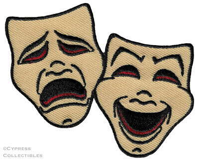 COMEDY TRAGEDY MASKS iron-on PATCH new EMBROIDERED DRAMA THEATRE ACTING EMBLEM