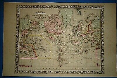 Vintage 1861 WORLD on the MERCATOR PROJECTION MAP Old Antique Original Atlas Map