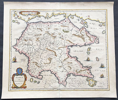 1640 Blaeu Original Antique Map of the Peloponnese Peninsula or Morea, Greece