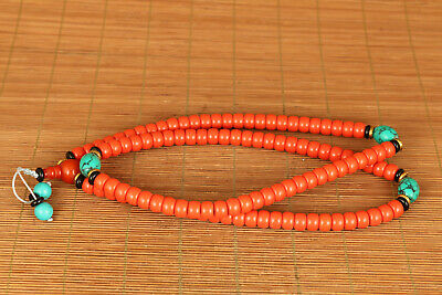 108 piece bead Asian tibetan Old Coral pendant necklace noble gift