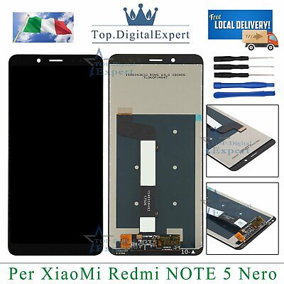TOUCH SCREEN VETRO + LCD DISPLAY SCHERMO Assemblato Per XIAOMI Redmi Note 5 NERO