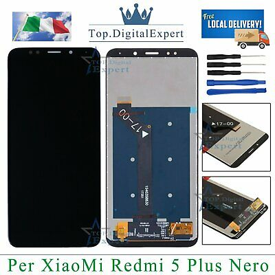 TOUCH SCREEN VETRO + LCD DISPLAY SCHERMO Assemblato Per XIAOMI Redmi 5 Plus NERO