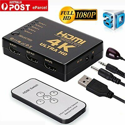 5Port 1080P 4K HDMI Switch Switcher Selector Splitter Hub& IR Remote for 3D HDTV