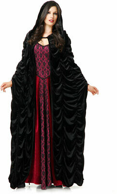 Coffin Cloak Velvet Halloween Costume Victorian Witch Cape Accessory Adult Women