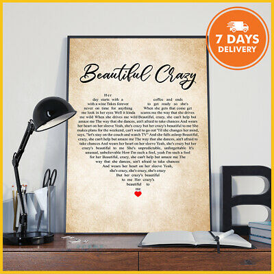 Beautiful Crazy Poster Without Frame Luke Combs Inspired Lyric Art Print Digital