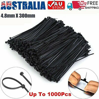 Cable Ties Zip Ties Nylon UV Stabilised 100/250/500/1000 x Bulk Black Cable Tie