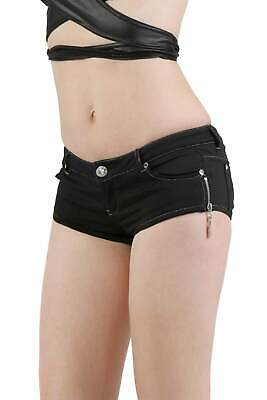 Ultra kurze Damen Hotpants in Jeans-Look Gogo Club Schwarz #H1852