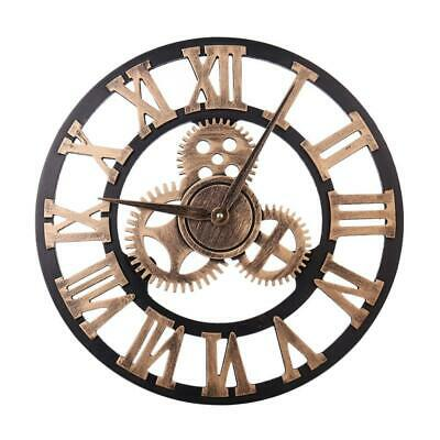 Large Roman Wall Clock Antique Vintage Wooden Skeleton Numeral Round Wheel 40CM