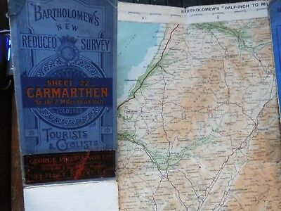 Wales Antique Cyclists Touring Club Map:1914 Carmarthen-Brecon: Bartholomew-1Ww