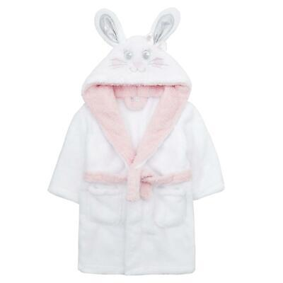 Infants / Childrens / Girls Novelty Bunny Snuggle Fleece Dressing Gown ~ 2-6 Yrs