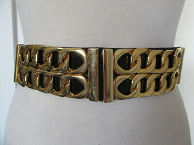 Vintage 1980'S Black Patent Statement Belt Chunky Gold Tone Chain Link Detail