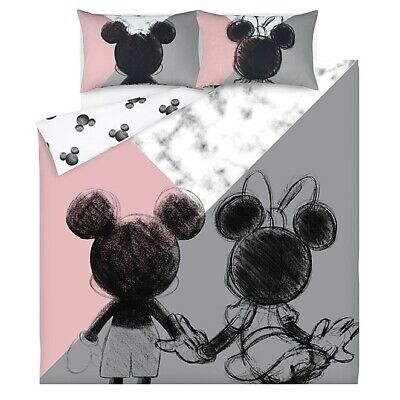 Disney Mickey Mouse And Minnie Mouse Duvet Cover- DOUBLE Pink Grey Marble Effect