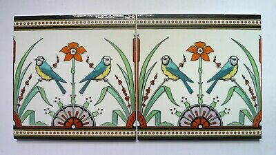Christopher Dresser Antique Minton & Co  Blue Tits TILES x 2. 1870 Tomtits