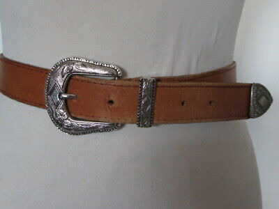 Vintage 80'S Tan Saddle Hide Western Belt Fancy Engraved Silver Tone Buckle