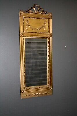 Antique French Empire trumeau mirror 1830 gilded carved wood frame ornate wreath