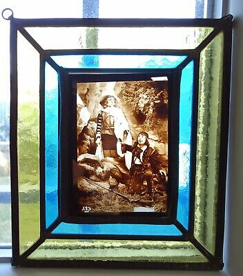 Antique French Leaded Stained Glass Window Panel  - Musketeer