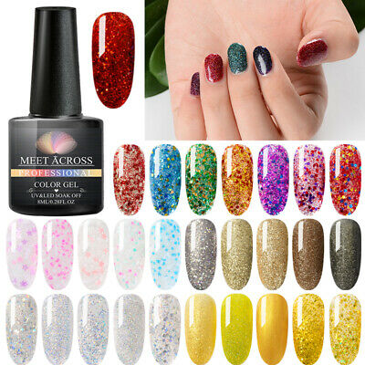 8ml MEET ACROSS Gel Nail Polish Varnish Lacquer Top Base Coat Manicure Gelpolish