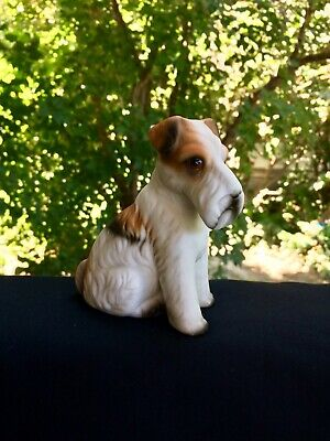 Wire Fox Terrier Figurine Sitting Bisque Vintage