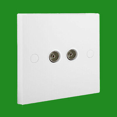 1 Gang TV/Radio Diplex Flush Mounted Socket Outlet Plate with Screw Covers