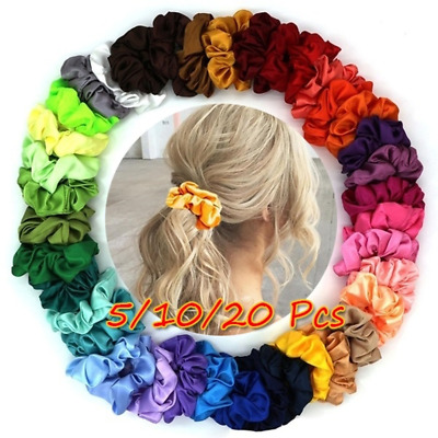 20Colors Cloth Hair Ring Silk Elastic Solid Hair Rope Ponytail Holder Scrunchies