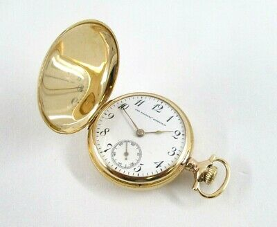 Hunter Case Pocket Watch The People's Jewelry Co. 14K Yellow Gold Size 0 Ca.1940