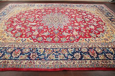 VINTAGE Najafabad Floral Oriental Area Rug Hand-Knotted Wool RED Carpet 10x13