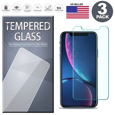 Tempered Glass Screen Protector 3-Pack For iPhone X XS Max XR 6S 7 8 Plus 11 PRO