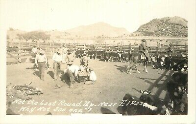 TX Texas El Paso Cattle Roundup Branding RPPC 1940s Real Photo Postcard