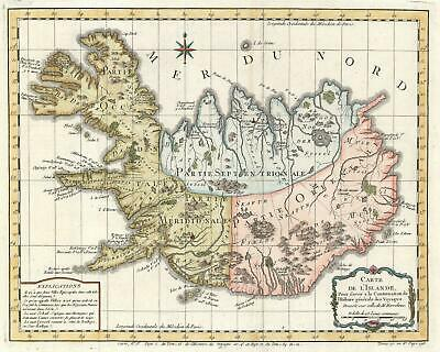 1759 Bellin Map of Iceland