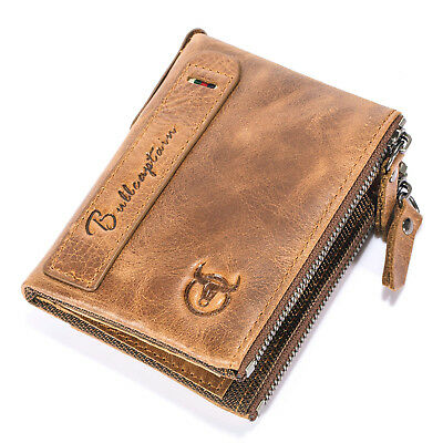 Mens Genuine Leather Wallet RFID Blocking Card Case Zip Cash Coin Pocket Purse