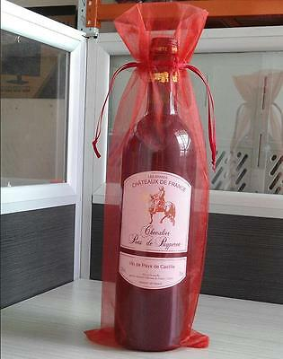 10x Sheer Organza Wine Bottles Gifts Bags Cover For Holiday Party Wedding Fa  wj