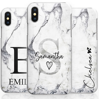 Personalised Grey Marble Phone Case, Hard Cover Customised With Initials/Name