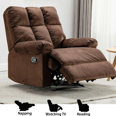 Soft Breathable Leather Recliner Traditional Manual Chair Sofa Padded Cushion