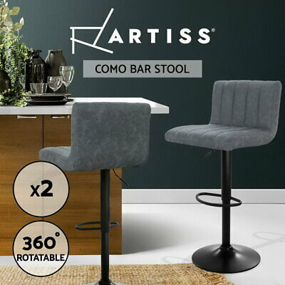 Artiss 2x Kitchen Bar Stools Swivel Vintage Bar Stool Leather Gas Lift Chairs