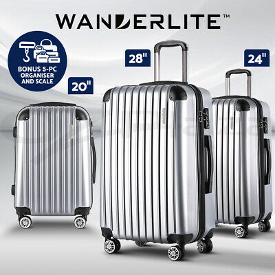Wanderlite Luggage Sets Suitcase 3pc Set TSA Scale Storage Organiser Silver