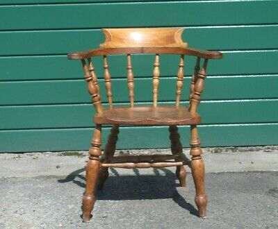 Antique Victorian Bow Captains Chair Smokers Chair Armchair Desk Solid