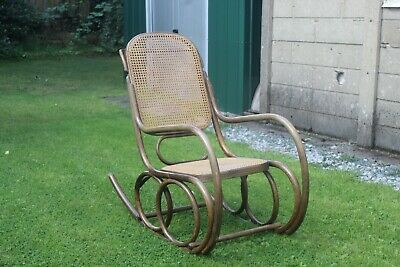 Vintage Antique Thonet Style Rocking Chair Bergere Rattan Chair Vgc Solid Wood