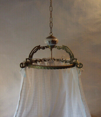 Antique French Gilt Bronze And Ceramic Ciel De Lit Bed Canopy Couronne Crown