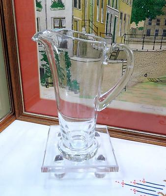 """Vintage Heavy Clear Crystal Tall 9 3/4"""" Ice Lip Pedestal Pitcher Applied Handle"""