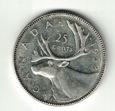 Canada 1952 Low Relief 25 Cents Quarter King George Vi Canadian Silver Coin