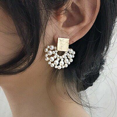 Fashion Women Geometric Sector Pearl Stud Earrings Statement Dangle Jewelry Gift
