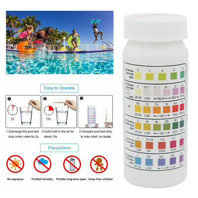 50Pcs 6 In1 Swimming Pool SPA Test Strips Chlorine pH Alkalinity Water Hardness