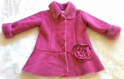 Widgeon – Bright Cerise Pink - Faux Fur Red Shearling Girl Winter Coat – 3 Years