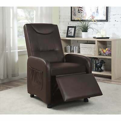 Hodedah Black/Brown Synthetic Leather Recliner Chair  Standard