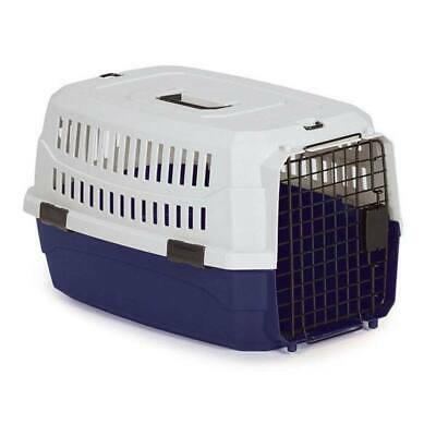 Pet Travel Crate Heavy Duty Plastic Blue Grey Secure Dog Cage Airline Approved
