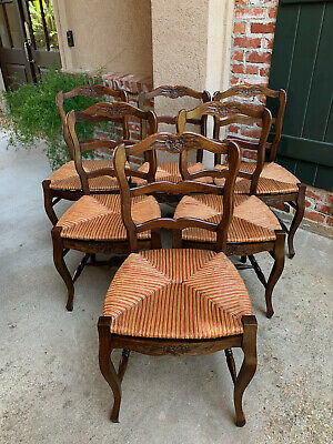 Set 6 Antique French Oak Ladder Back Dining Kitchen Chair Rush Seat Provencial