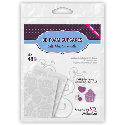 Scrapbook Adhesives 3D Foam Shapes Cupcakes 48pc