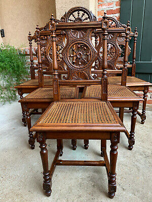 Set 6 Antique French Carved Oak Breton Brittany Dining Kitchen Chair Cane Seat