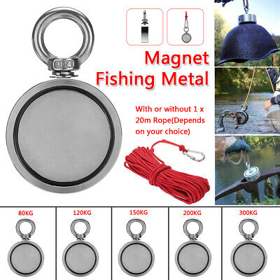 150/200/300KG Double Sided Round Super Strong Neodymium Fishing Magnet 20M Rope